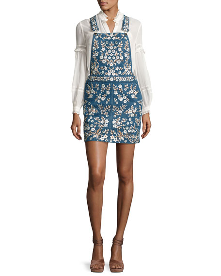 Floral-Embroidered Denim Pinafore Dress, Washed Indigo