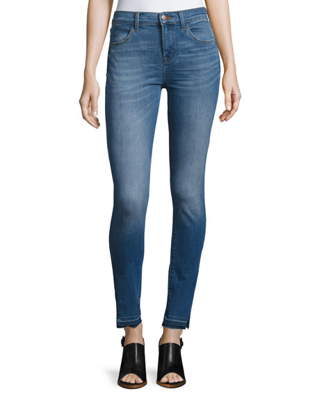Maria High-Rise Skinny Side-Slit Jeans with Released Hem,