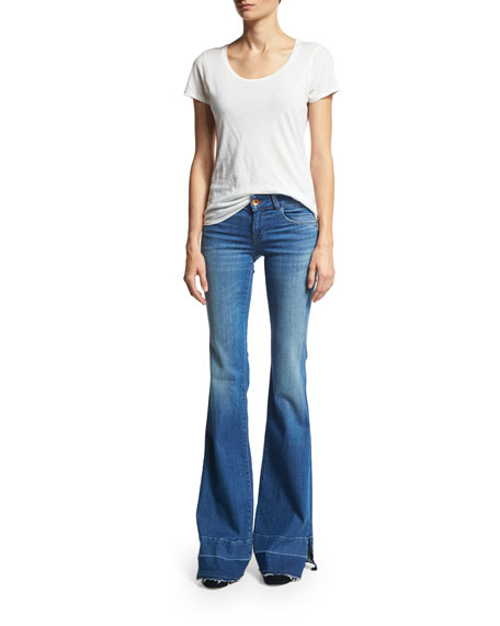 Love Story Flare-Leg Side-Slit Jeans with Released Hem, Angelic