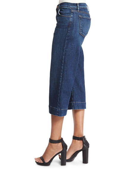 Liza Mid-Rise Cropped Culottes, Blue