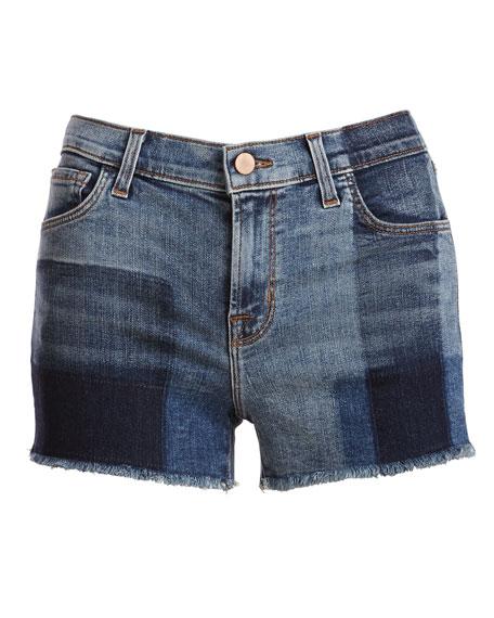 1044 Mid-Rise Patchwork Denim Cutoff Shorts, Zenith