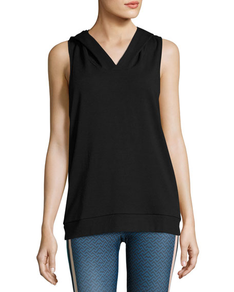 X-Back Sleeveless Hoodie, Black
