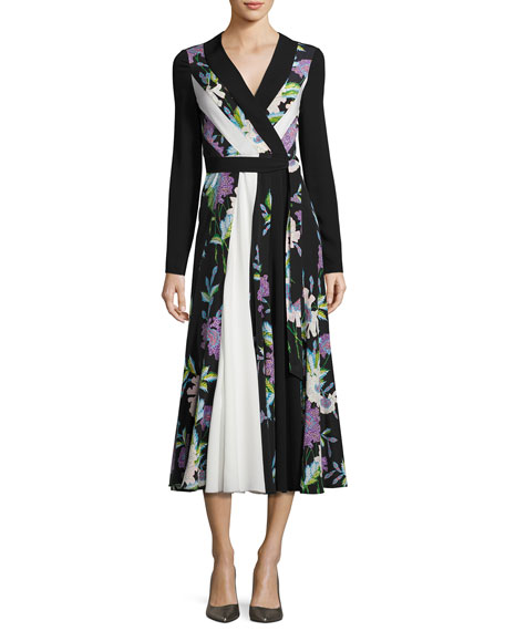 553518fc51 Diane von Furstenberg Penelope Floral & Colorblock Silk Wrap Dress,  Black/White/Multicolor