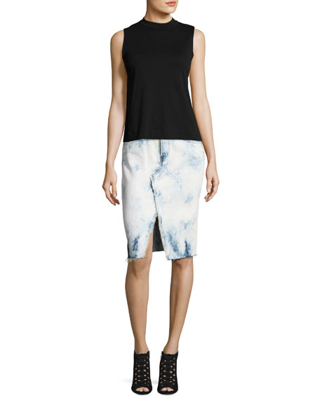 Trystan Bleached Denim Midi Skirt with Raw Hem, Elation