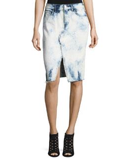 Trystan Bleached Denim Midi Skirt with Raw Hem, Elation