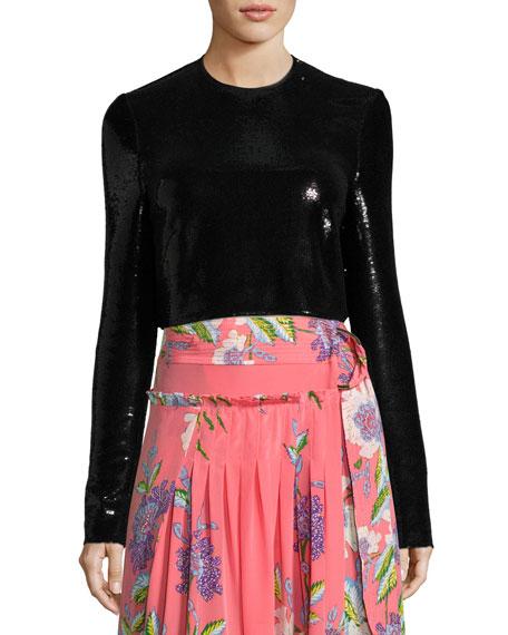 Diane von Furstenberg Long-Sleeve Sequined Crop Top, Black