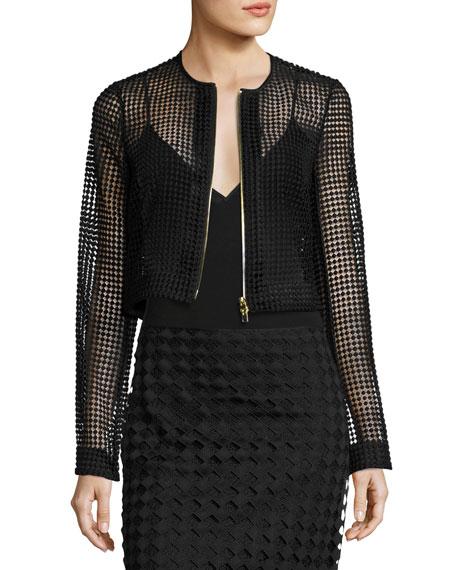 Diane von Furstenberg Chain Lace Cropped Jacket, Black