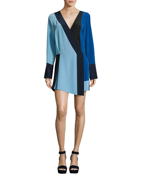 Colorblock Silk Crossover Mini Dress, Blue
