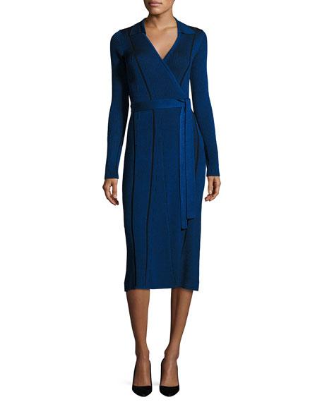Diane von Furstenberg Transfer Rib Wrap Dress, Blue