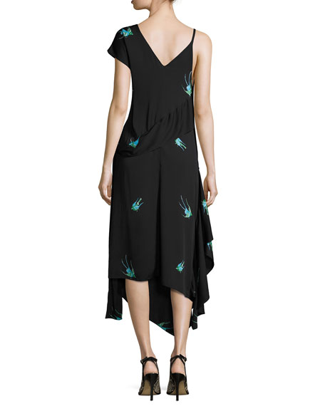 Bird-Print Asymmetric Silk Jersey Ruffle Dress, Black