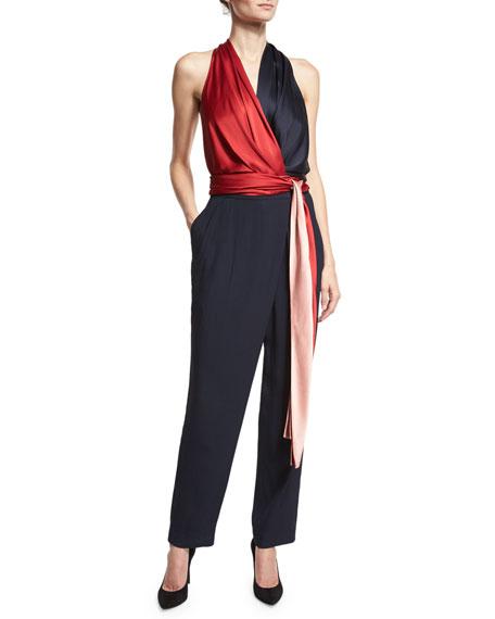 699682e0d787 Diane von Furstenberg Satin Wrap Jumpsuit