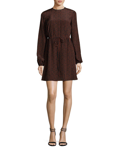 Diane von Furstenberg Long-Sleeve Polka-Dot Silk Mini Dress,