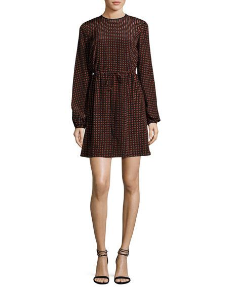 Long-Sleeve Polka-Dot Silk Mini Dress, Red