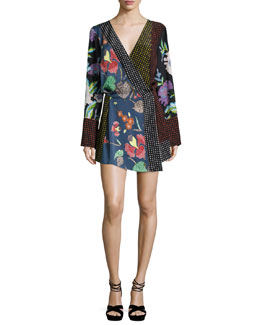 Floral & Dot Print Silk Jersey Dress, Multicolor