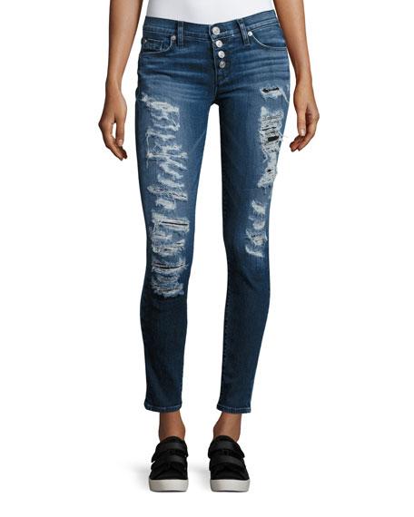 Hudson Ciara Distressed Super Skinny Jeans, Bombard Blue