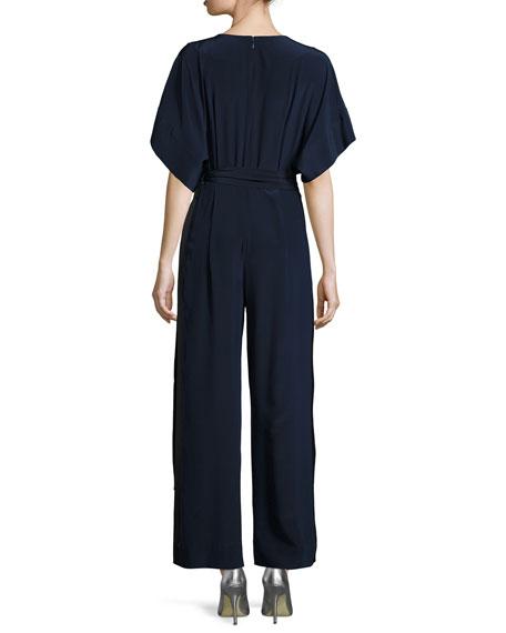 Faux-Wrap Silk Kimono Jumpsuit, Blue