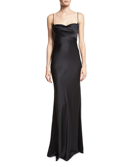 Satin Cowl-Neck Sleeveless Gown, Black