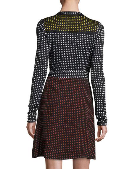 Mixed Jersey Wrap Dress, Black