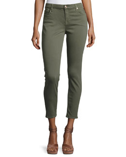 The Ankle Skinny Coated Jeans, Gray