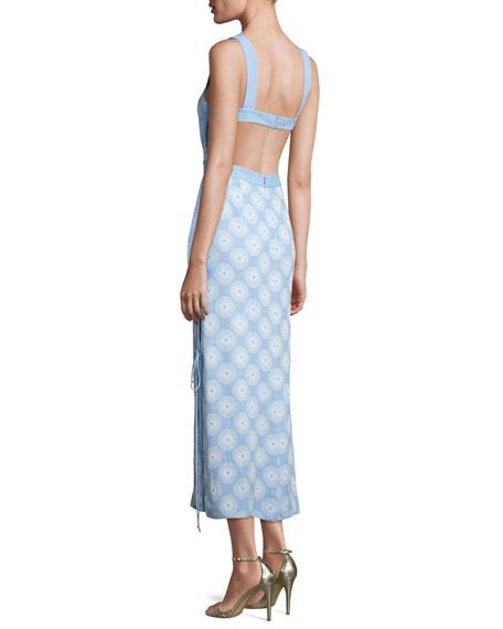 Sleeveless Tie-Side Printed Midi Dress, Blue