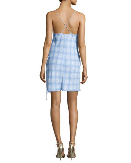 Printed Tie-Side Slip Dress, Blue