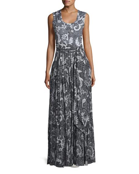 Floral-Print Cotton-Silk Sleeveless Maxi Dress, Black