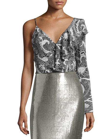 Floral-Print Silk Asymmetric Ruffle Blouse, Black