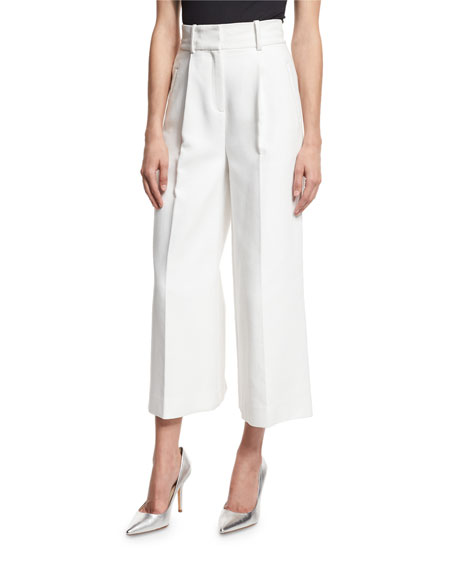 High-Waist Single-Pleat Culottes, White