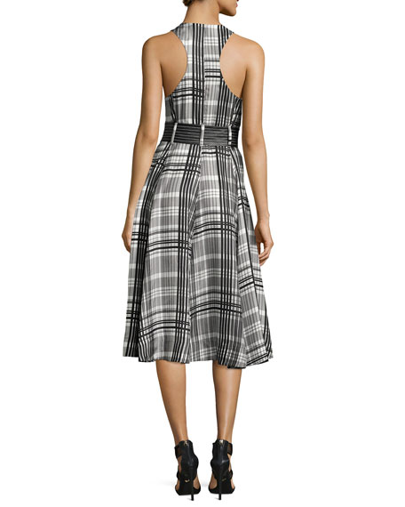 Sleeveless Belted Flared Midi Dress, Black Pattern