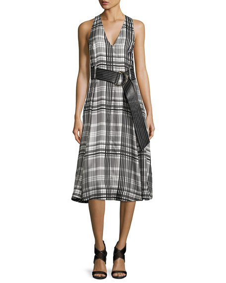 Sleeveless Belted Flared Midi Dress, Black Pattern