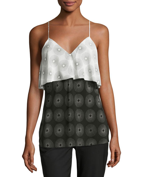 Sunburst-Print Silk Popover Camisole, Black/White
