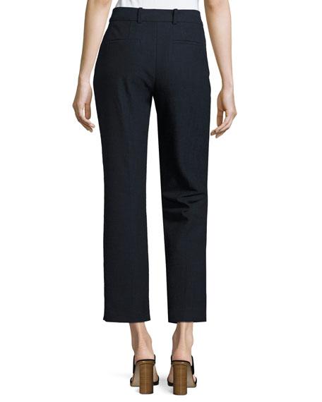 Slub Cropped Straight-Leg Suiting Pants, Navy