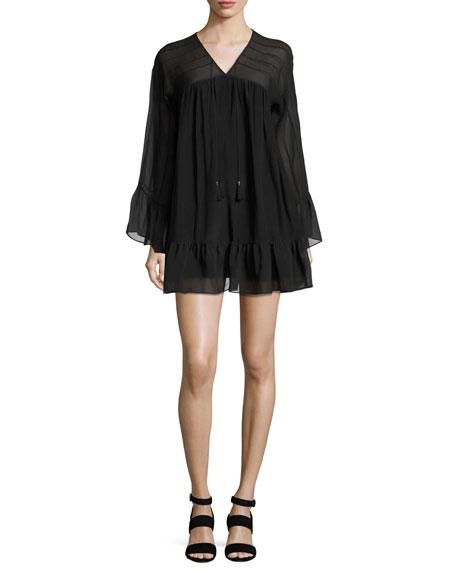 Anita Bell-Sleeve Silk Mini Dress, Black