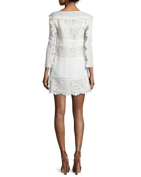 Sasha Ruffle-Trim Paneled-Lace Day Dress, Ecru