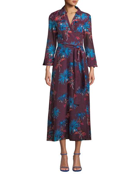 Striped Cotton Wrap Dress - Sky blue Diane Von F 4TkF3