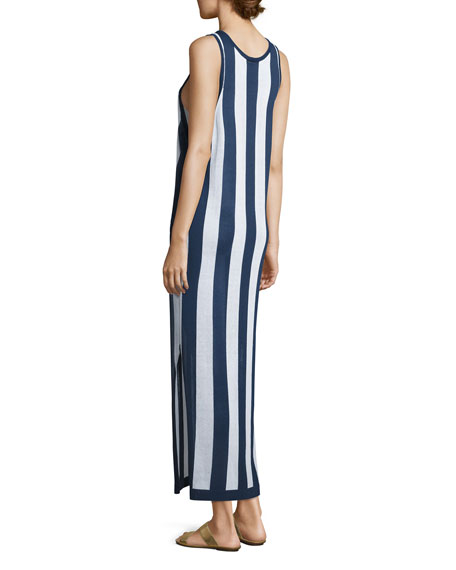 Sleeveless Striped Maxi Coverup Dress, Navy/White