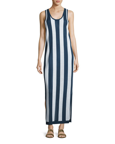 Diane von Furstenberg Sleeveless Striped Maxi Coverup Dress,