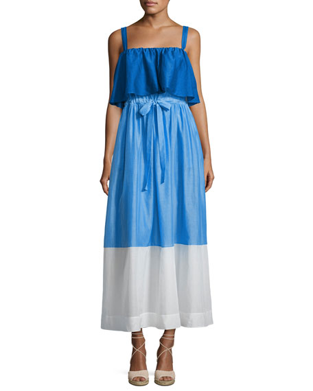 Diane von Furstenberg Colorblock Popover Prairie Dress,