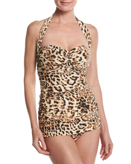 Bill Mio Halter One-Piece Swimsuit, Leopard