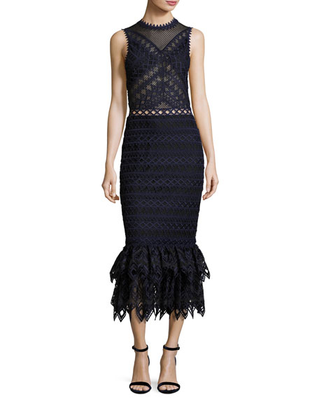 Lattice Embroidered Organza Mermaid Dress, Navy/Black