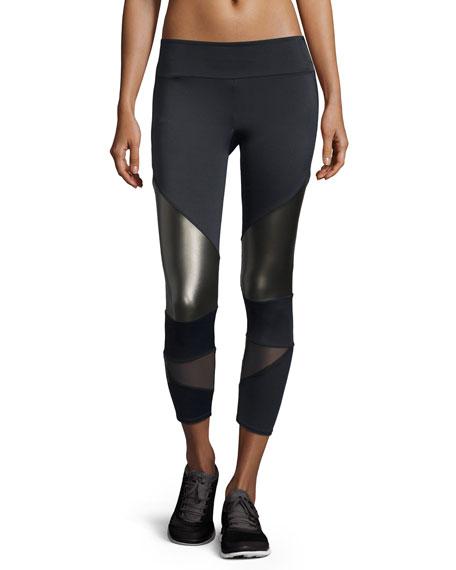 Onzie Cutout Capri Sport Leggings W/Mesh Insets, Black