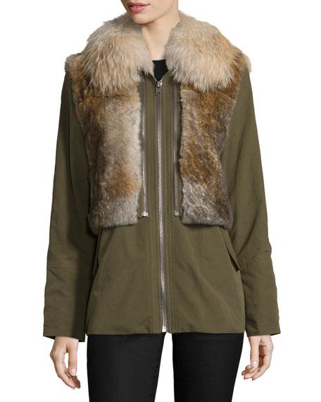 Twill Fur-Trim Jacket, Green