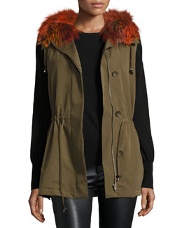 Milt Hooded Fox-Trim Vest, Green