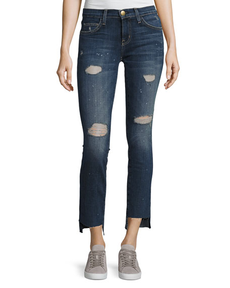 Current/Elliott Uneven Cut Distressed Skinny Jeans, Medium Blue