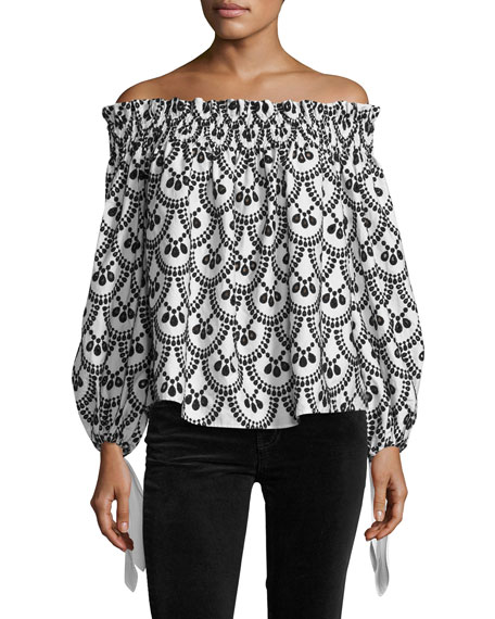Caroline Constas Lou Off-the-Shoulder Embroidered Top, Black/White