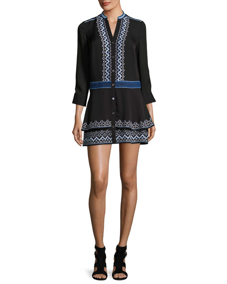 Sloane Tiered Embroidered Dress, Black
