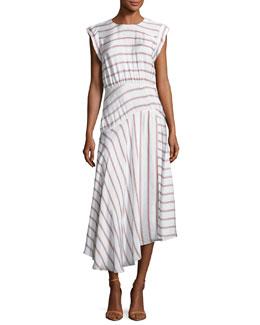 Jackie Asymmetric Striped Midi Dress, White