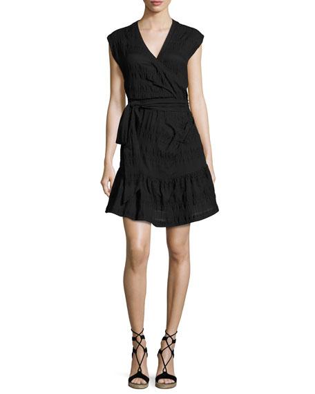Shadow Shirred Wrap Dress, Black