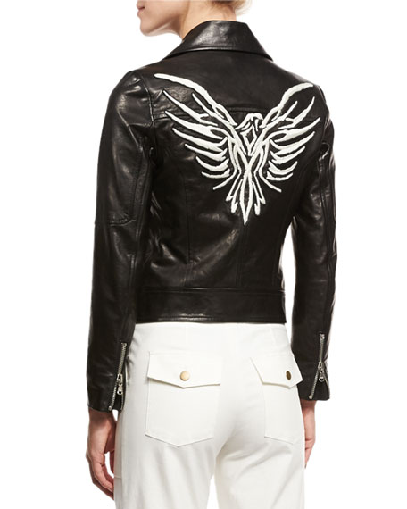 Freedom Embroidered Eagle Leather Moto Jacket, Black
