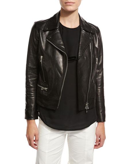 Freedom Embroidered Eagle Leather Moto Jacket, Black
